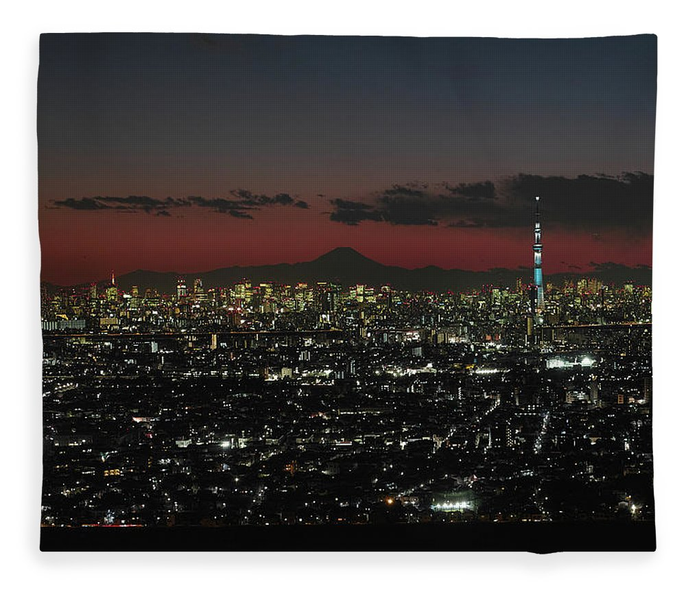 Tokyo Tower Fleece Blanket featuring the photograph Tokyo Skytree, Fuji, And Tokyo Tower by I Love Photo And Apple.