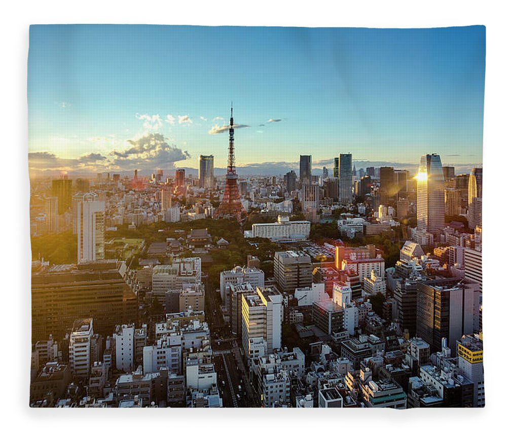 Tokyo Tower Fleece Blanket featuring the photograph Tokyo Tower After Raining by Panithan Fakseemuang