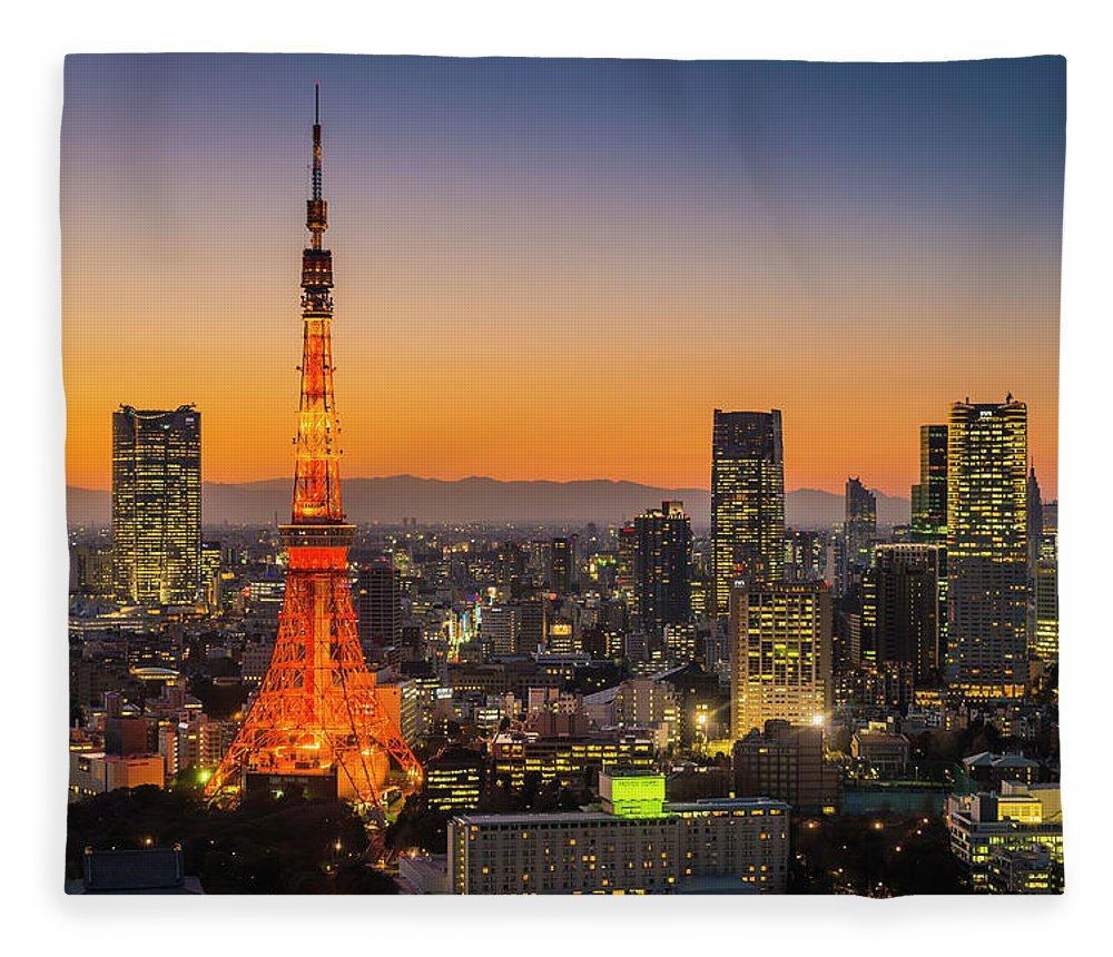 Tokyo Tower Fleece Blanket featuring the photograph Tokyo Tower Skyscrapers Neon Futuristic by Fotovoyager