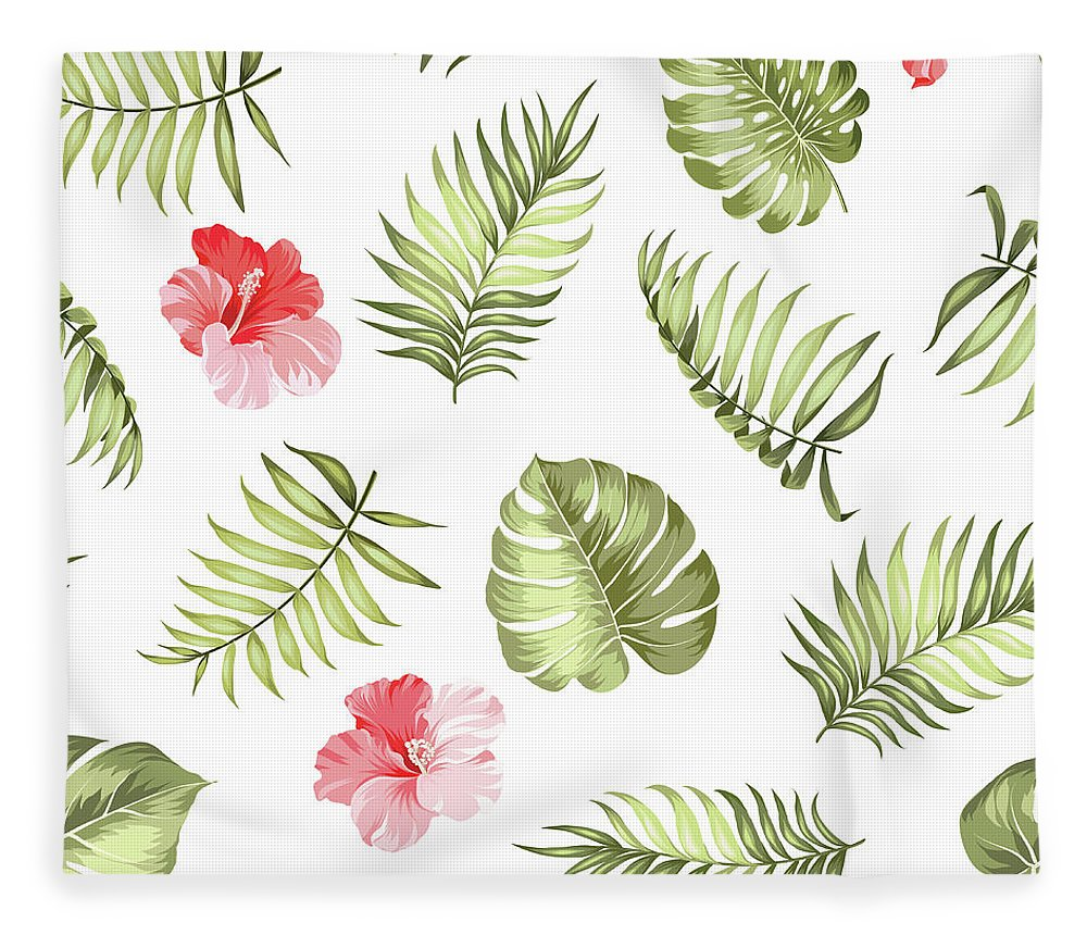 Tropical Rainforest Fleece Blanket featuring the digital art Topical Palm Leaves Pattern by Kotkoa