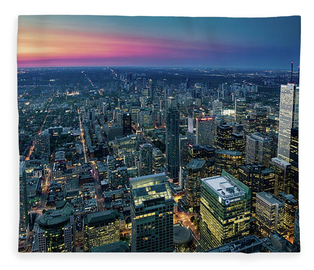Downtown District Fleece Blanket featuring the photograph Toronto Downtown City At Night by D3sign