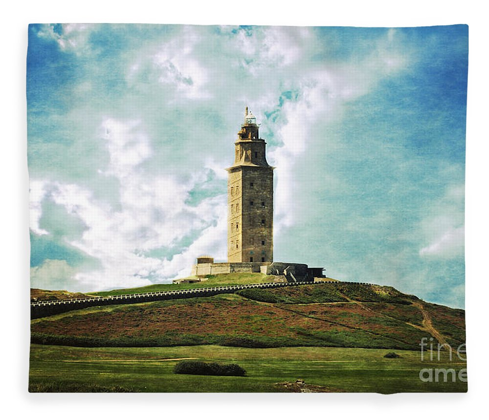 Tower Of Hercules Fleece Blanket featuring the photograph Tower Of Hercules La Coruna by Mary Machare
