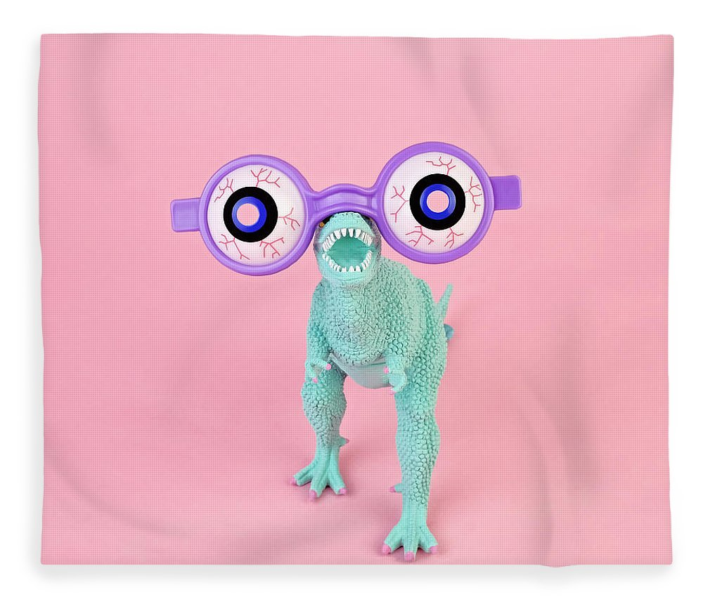 Purple Fleece Blanket featuring the photograph Toy Dinosaur With Spooky Glasses by Juj Winn