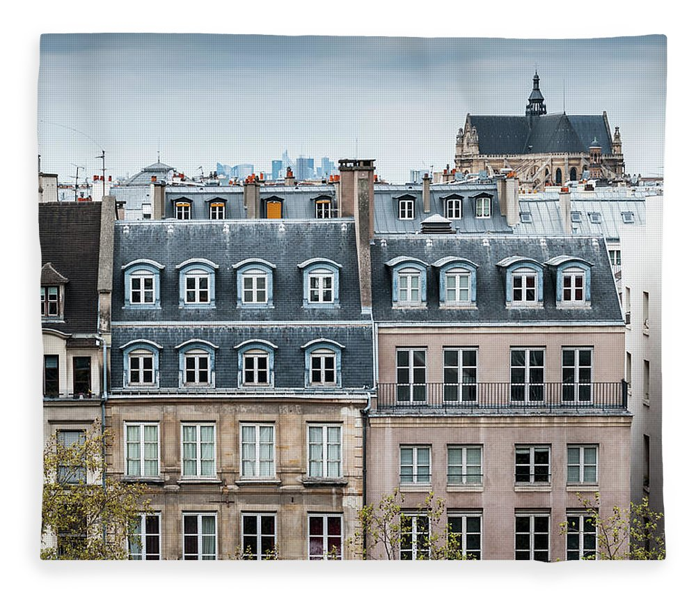 Built Structure Fleece Blanket featuring the photograph Traditional Buildings In Paris by Mmac72