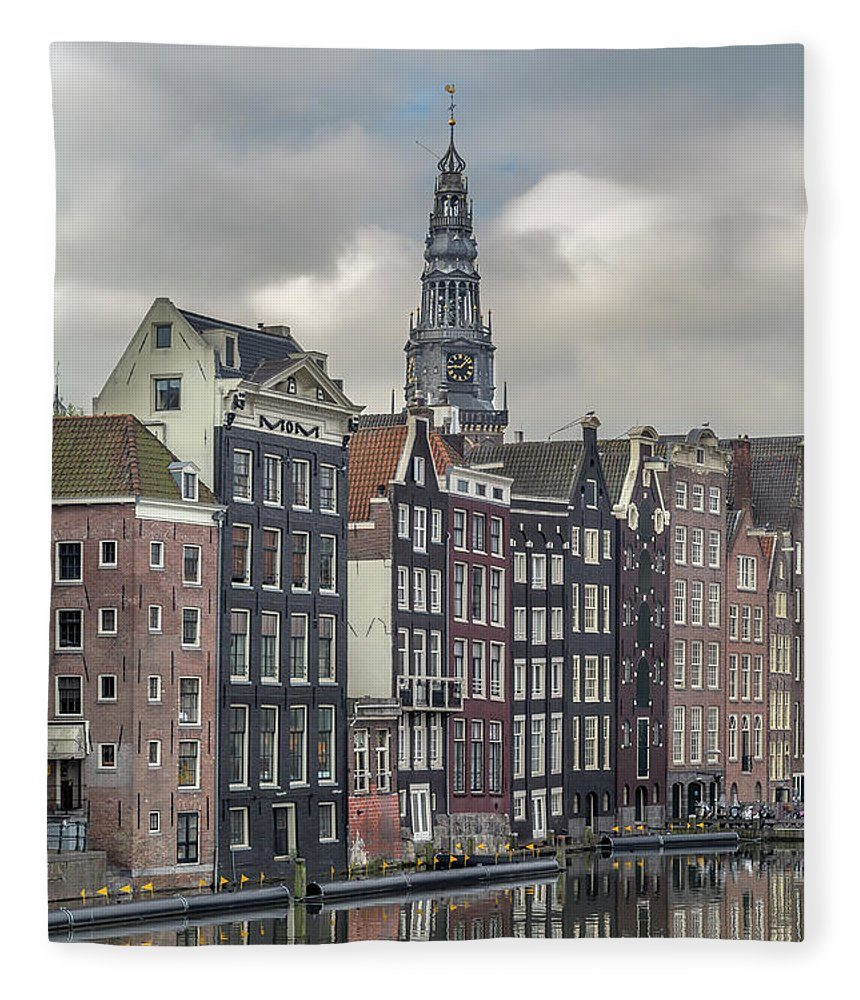 In A Row Fleece Blanket featuring the photograph Traditional Dutch Houses Over A Canal by Buena Vista Images