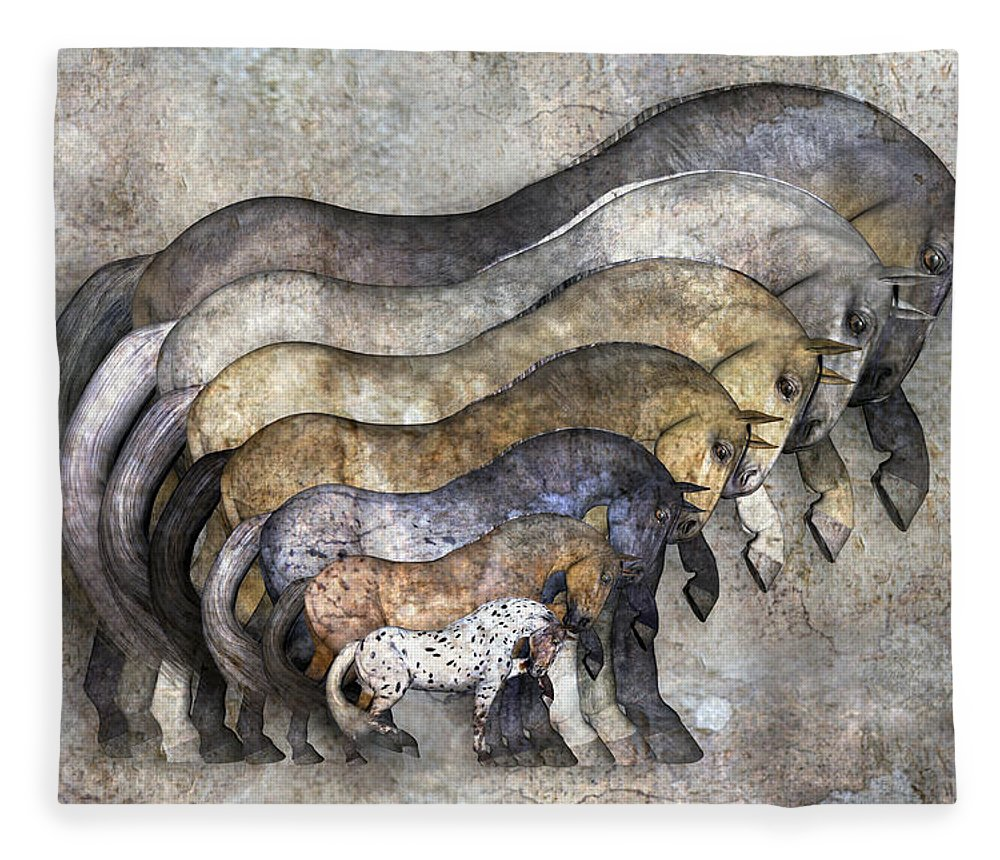 Fantasy Fleece Blanket featuring the digital art Traditional Horses by Betsy Knapp