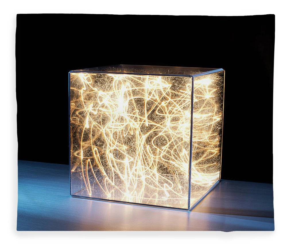 Block Shape Fleece Blanket featuring the photograph Trail Of Bright Light In Box by Pm Images