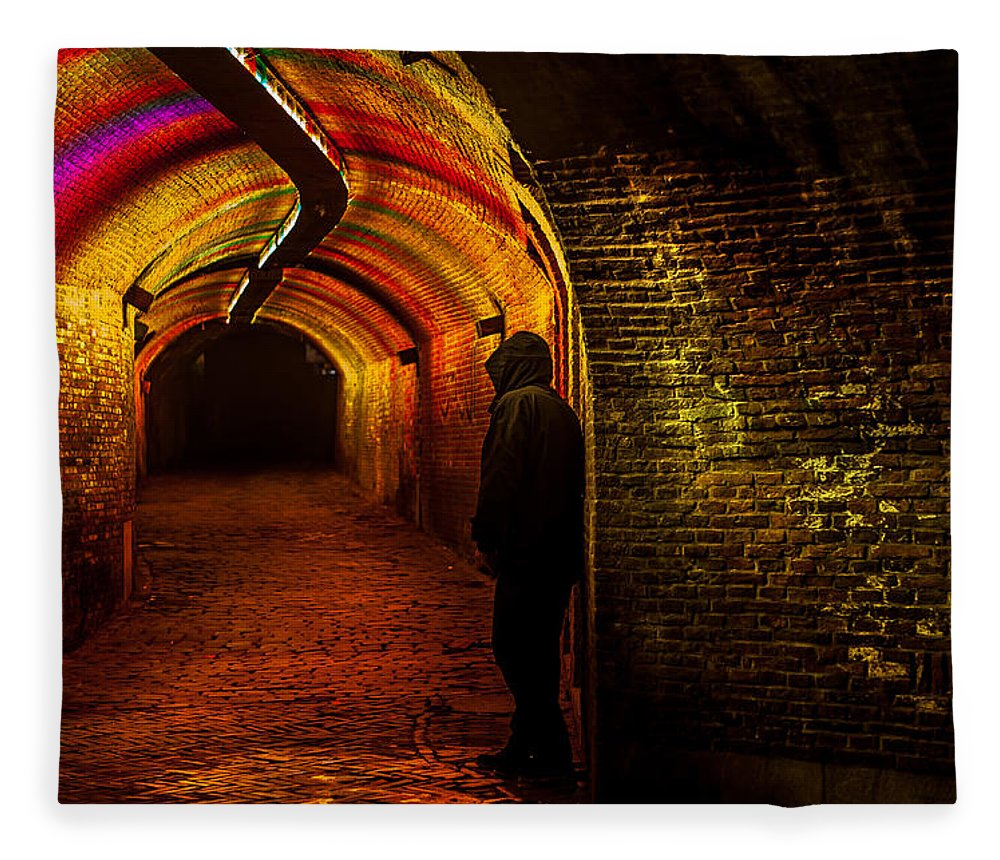 Netherlands Fleece Blanket featuring the photograph Trajectum Lumen Project. Ganzenmarkt Tunnel 9. Netherlands by Jenny Rainbow