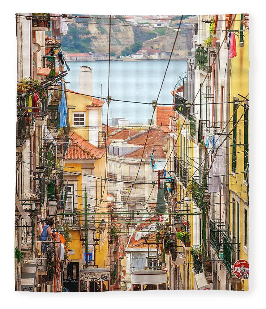 People Fleece Blanket featuring the photograph Tram, Barrio Alto, Lisbon, Portugal by Peter Adams