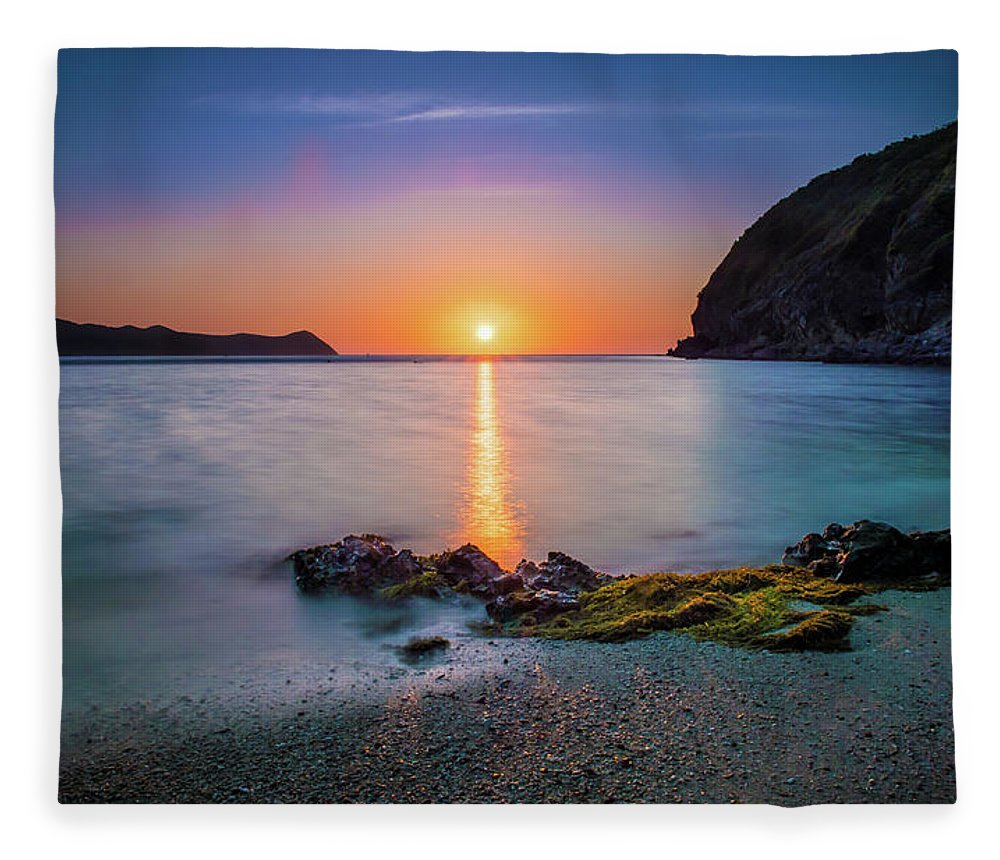 Tranquility Fleece Blanket featuring the photograph Tranquility - Sunset In Palawan by Patrick Meier