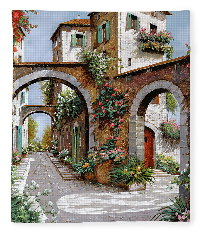Arches Fleece Blanket featuring the painting Tre Archi by Guido Borelli
