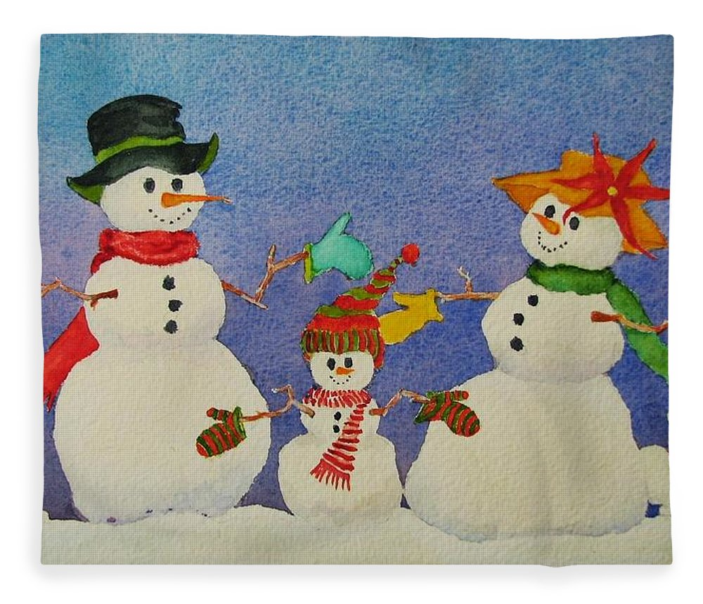 Christmas Card Fleece Blanket featuring the painting Tres Chic by Mary Ellen Mueller Legault