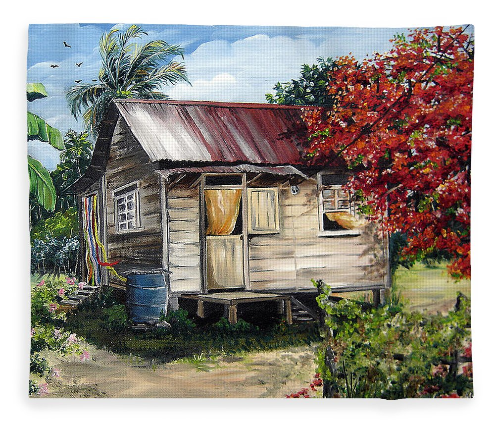 Landscape Paintings Tropical Paintings Trinidad House Paintings House Paintings Country Painting Trinidad Old Wood House Paintings Flamboyant Tree Paintings Caribbean Paintings Greeting Card Paintings Canvas Print Paintings Poster Art Paintings Fleece Blanket featuring the painting Country Life by Karin Dawn Kelshall- Best