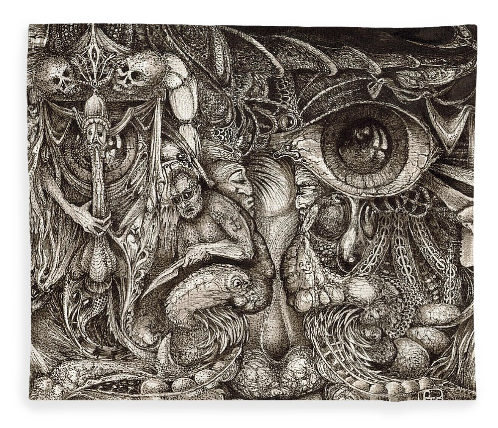 Surreal Fleece Blanket featuring the drawing Tripping Through Bogomils Mind by Otto Rapp