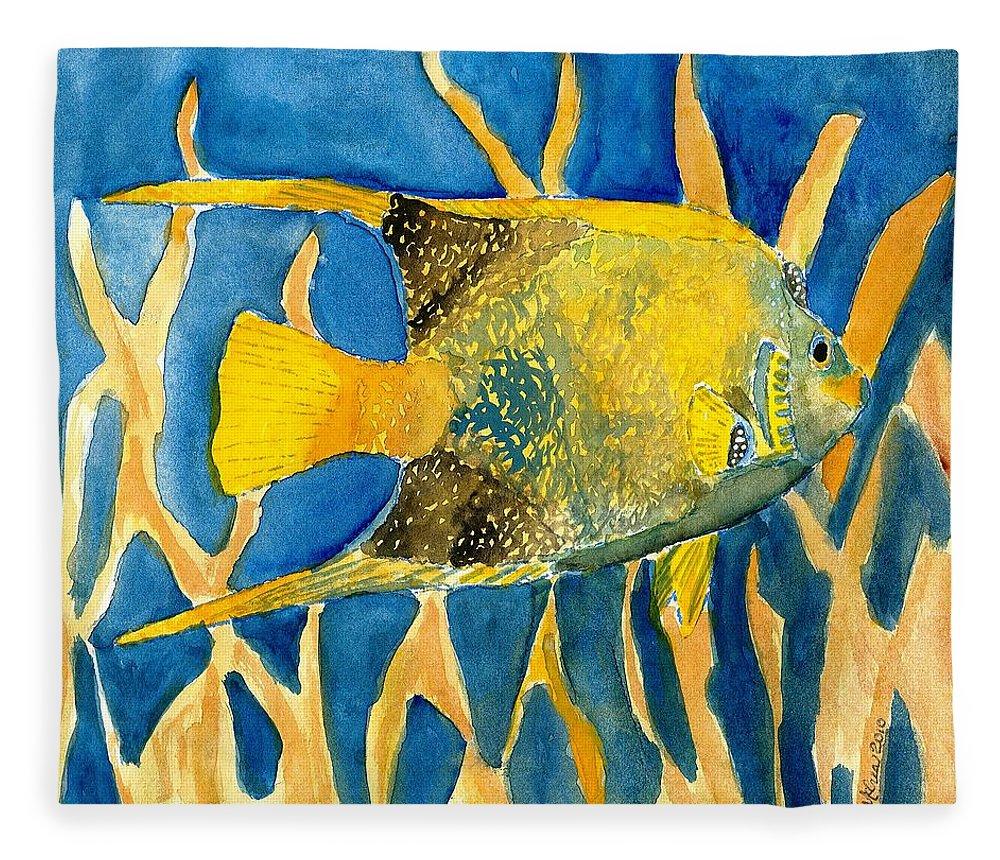 Tropical Fleece Blanket featuring the painting Tropical Fish Art Print by Derek Mccrea