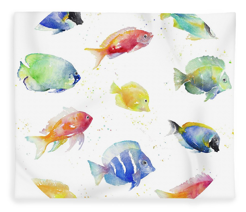Tropical Fleece Blanket featuring the painting Tropical Fish Round by Lanie Loreth