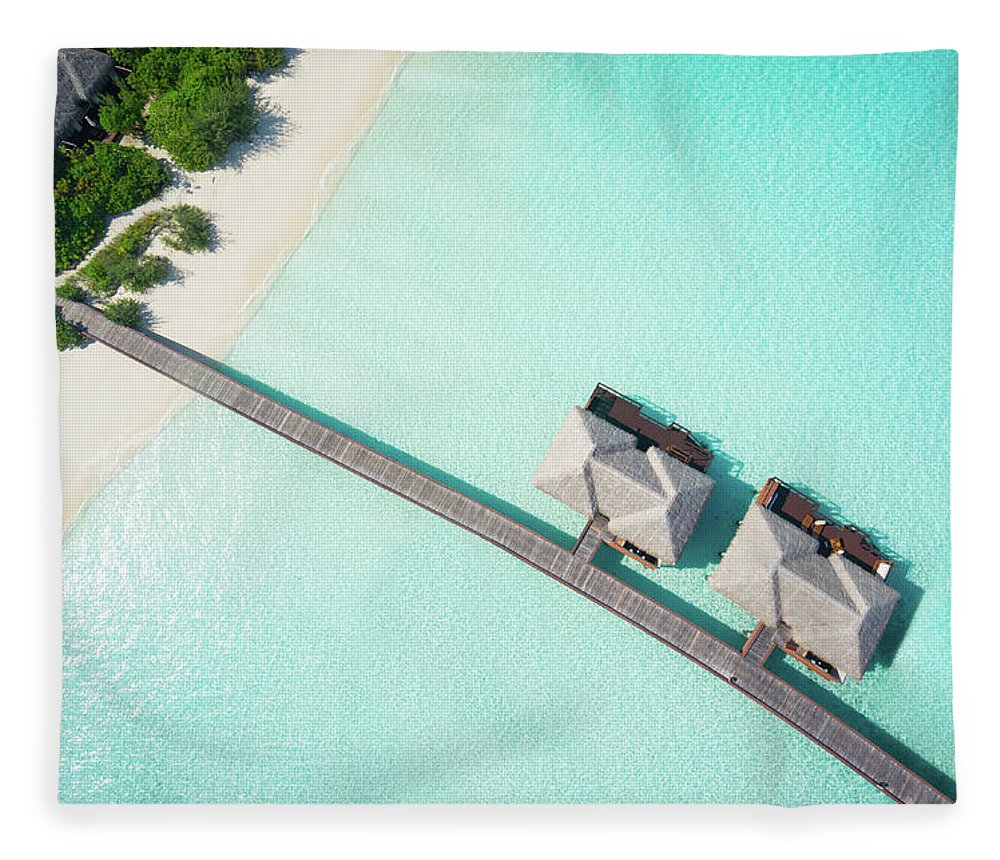 Outdoors Fleece Blanket featuring the photograph Tropical Hideaway From Above by Amriphoto
