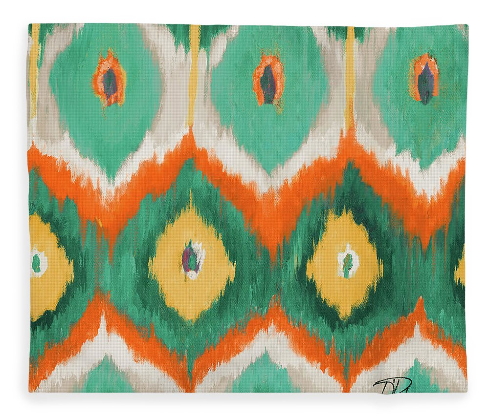 Tropical Fleece Blanket featuring the painting Tropical Ikat II by Patricia Pinto