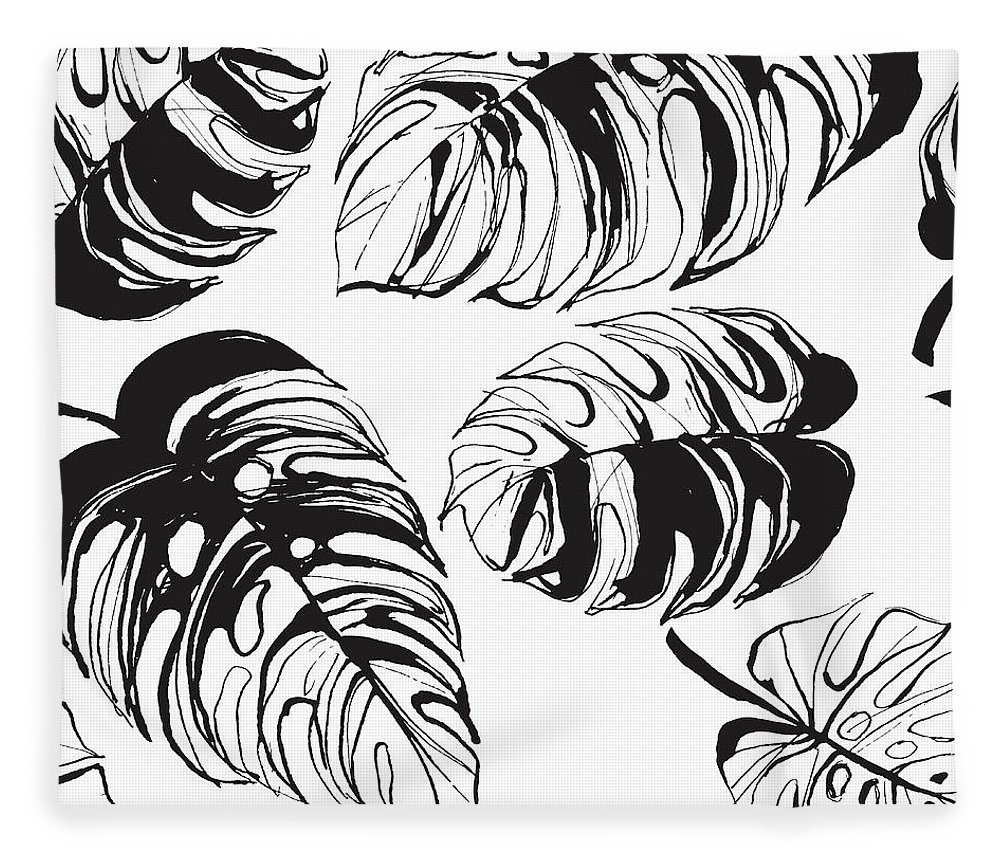 Tropical Rainforest Fleece Blanket featuring the digital art Tropical Jungle Floral Seamless by Sv sunny