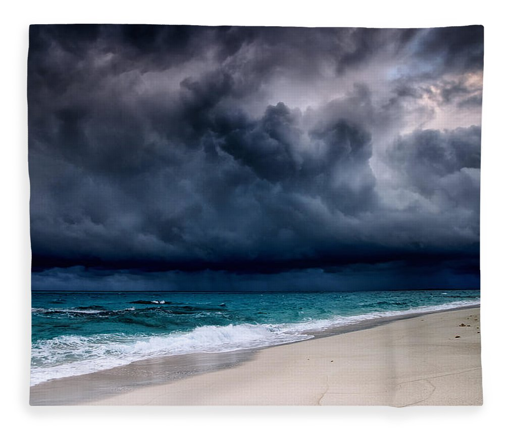Water's Edge Fleece Blanket featuring the photograph Tropical Storm Over The Caribbean Sea by Stevegeer