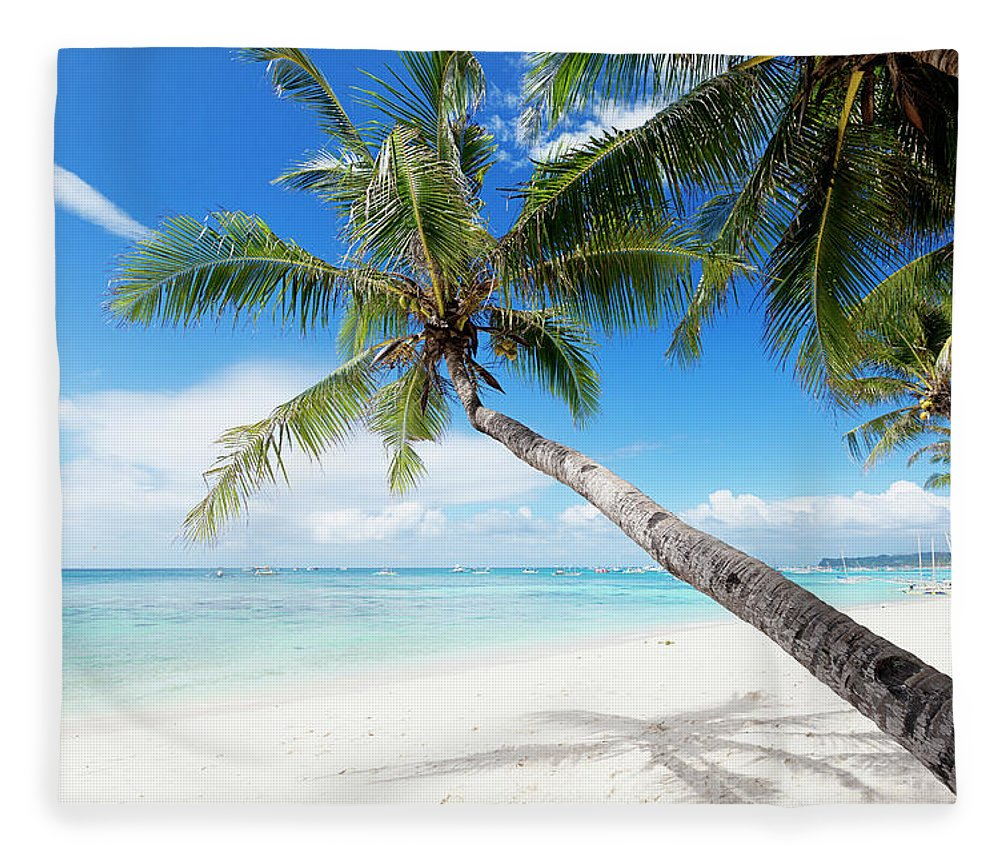 Water's Edge Fleece Blanket featuring the photograph Tropical White Sand Beach by 35007