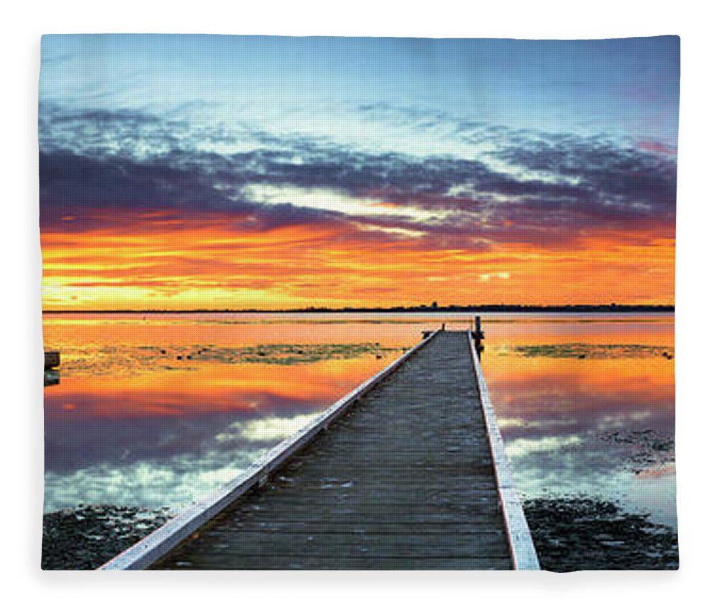 Tranquility Fleece Blanket featuring the photograph Tuggerah Lake Jetty by Bruce Hood