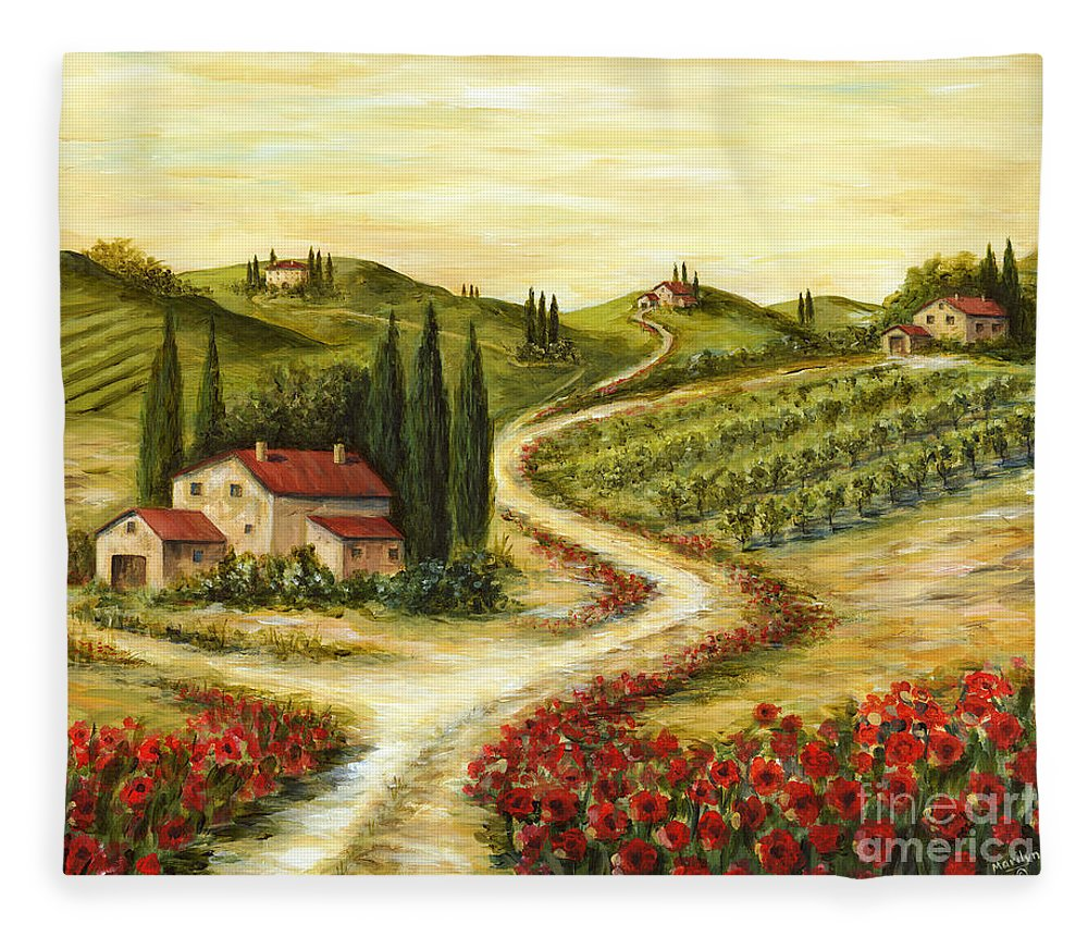 Tuscany Fleece Blanket featuring the painting Tuscan Road With Poppies by Marilyn Dunlap