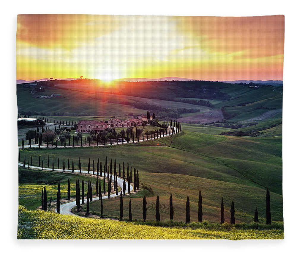 Scenics Fleece Blanket featuring the photograph Tuscany Landscape At Sunset by Borchee