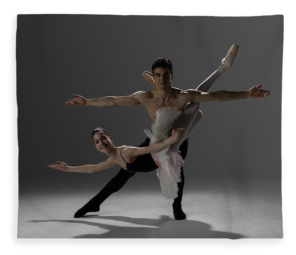 Ballet Dancer Fleece Blanket featuring the photograph Two Ballet Dancers Performing Pas De by Nisian Hughes