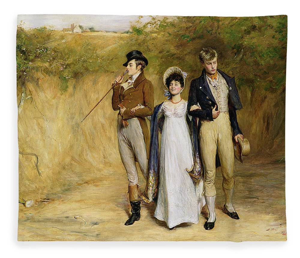 Dating Fleece Blanket featuring the painting Two Strings To Her Bow by John Pettie