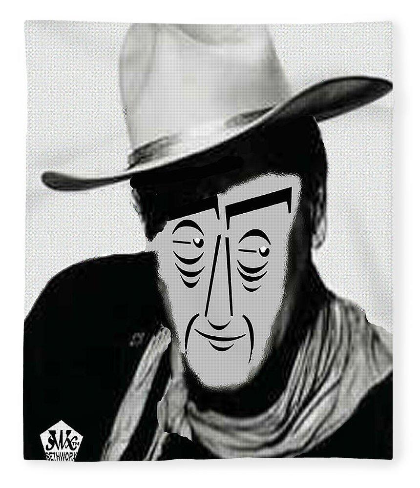 Typortraiture John Wayne Fleece Blanket featuring the mixed media Typortraiture John Wayne by Seth Weaver
