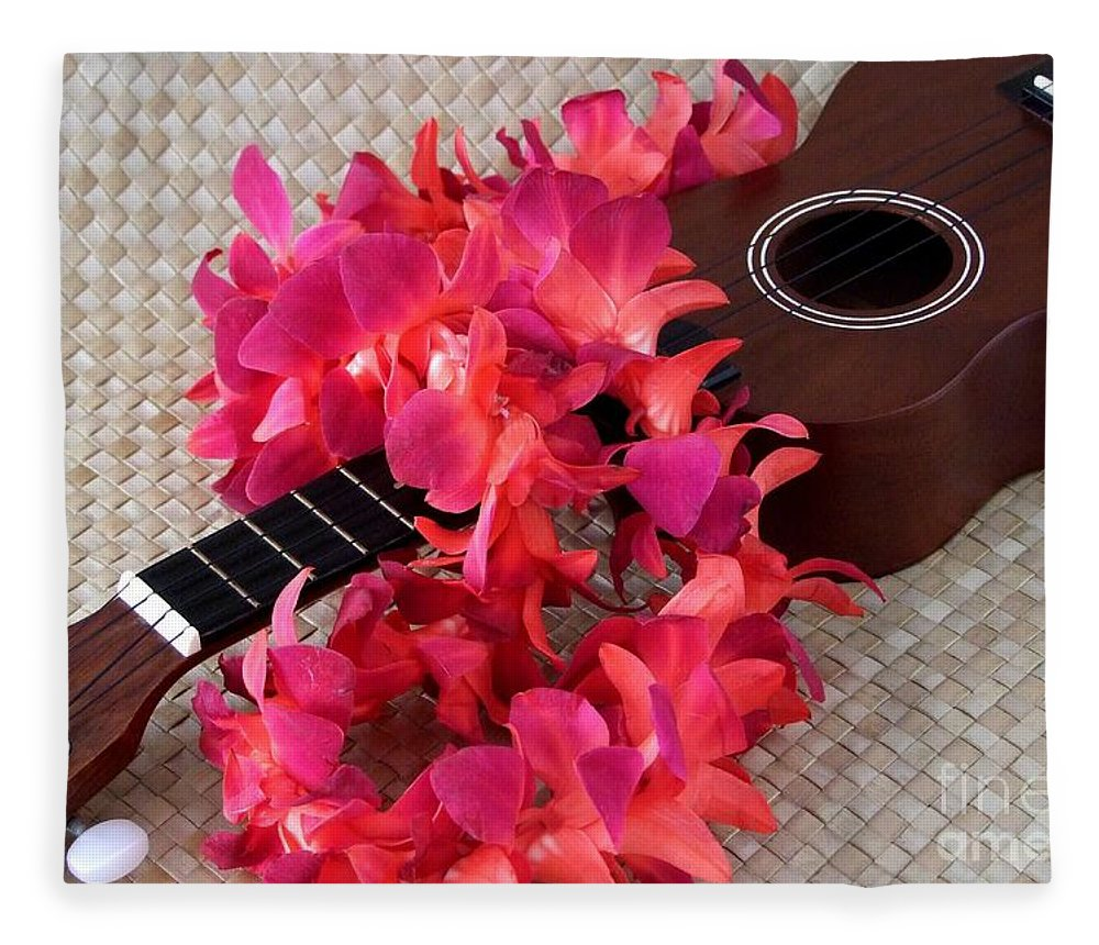 Ukulele Fleece Blanket featuring the photograph Ukulele And Red Lei by Mary Deal