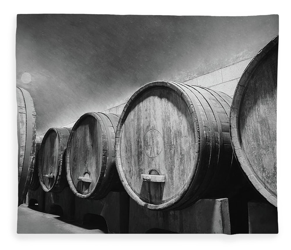 Alcohol Fleece Blanket featuring the photograph Underground Wine Cellar With Wooden by Feellife