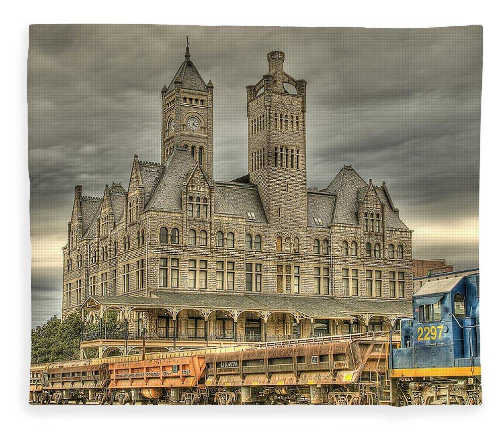Nashville Fleece Blanket featuring the photograph Union Station by Brett Engle
