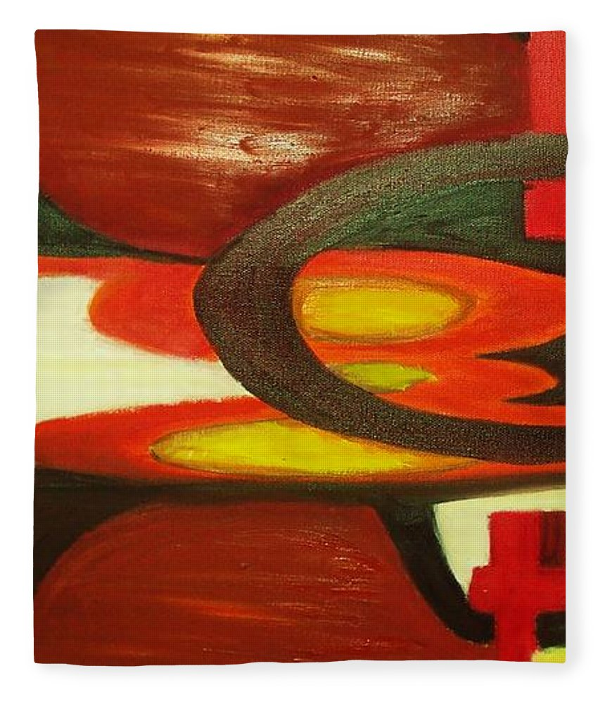 Oil Abstract Fleece Blanket featuring the painting Unique I by Yael VanGruber