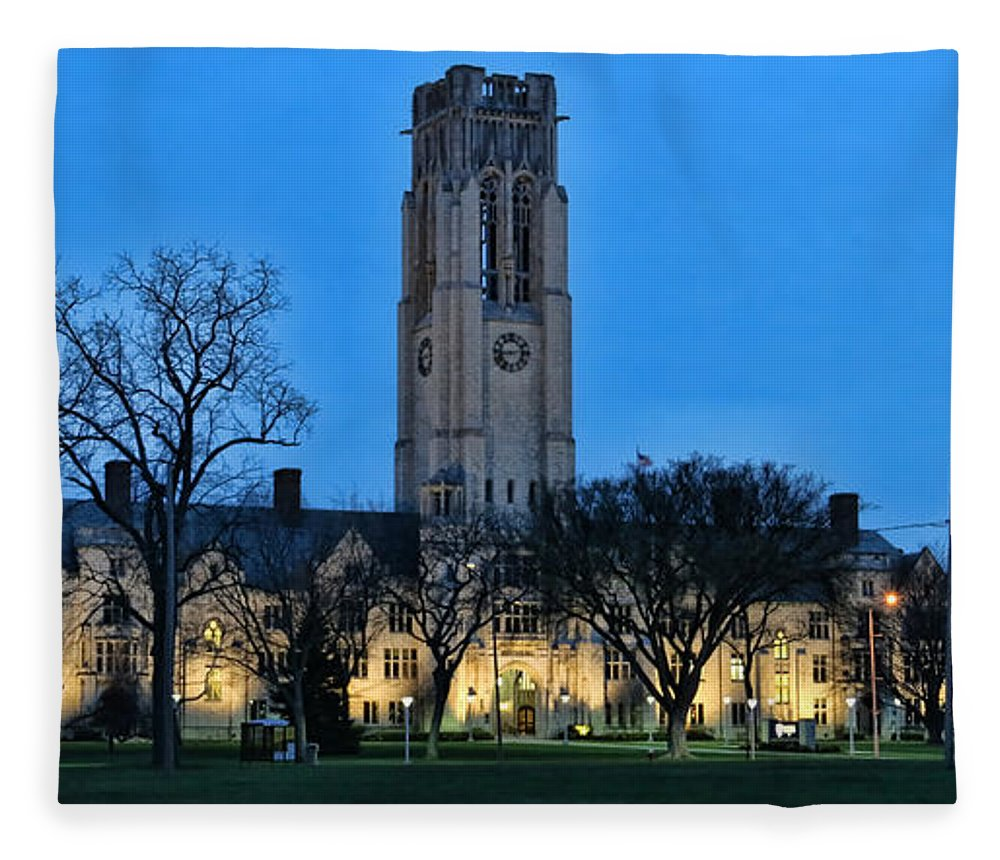 University Hall Fleece Blanket featuring the photograph University Hall At Night 5053 by Jack Schultz