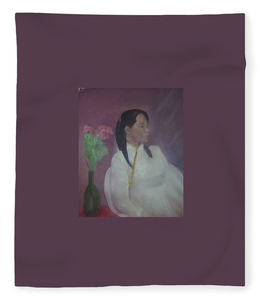 Woman Fleece Blanket featuring the painting Untitled #2 by Sheila Mashaw