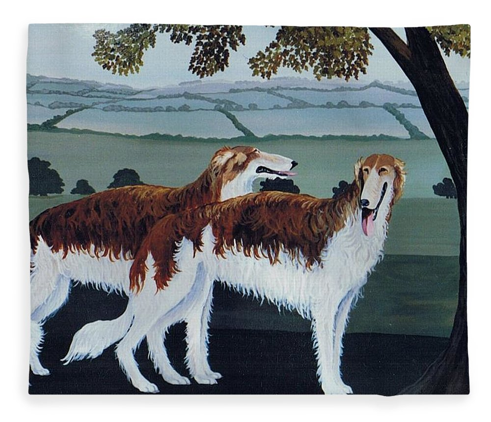 Borzoi Fleece Blanket featuring the photograph Untitled by Maggie Rowe