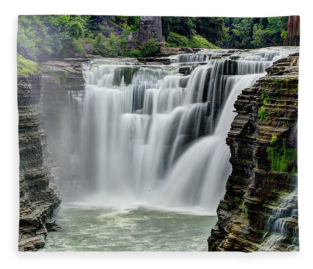 Letchworth State Park Fleece Blanket featuring the photograph Upper Letchworth Falls by Tony Shi Photography