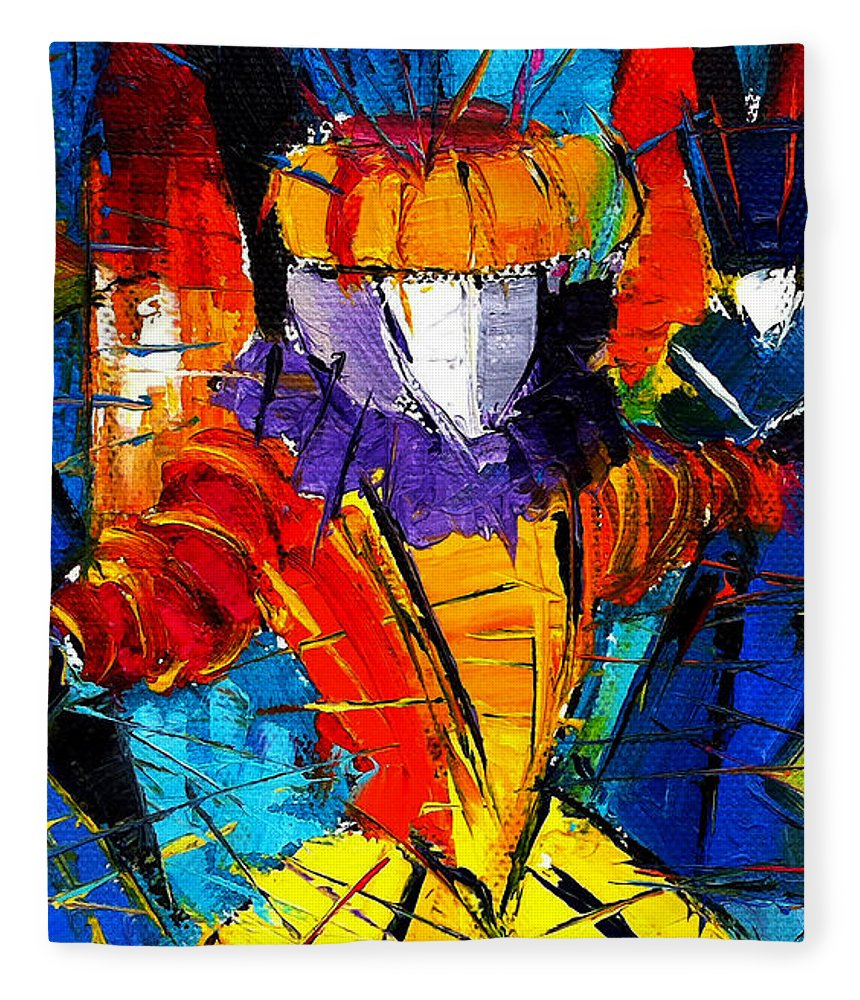 The Carnival Fleece Blanket featuring the painting Urban Story The Venice Carnival 2 Painting Detail by Mona Edulesco