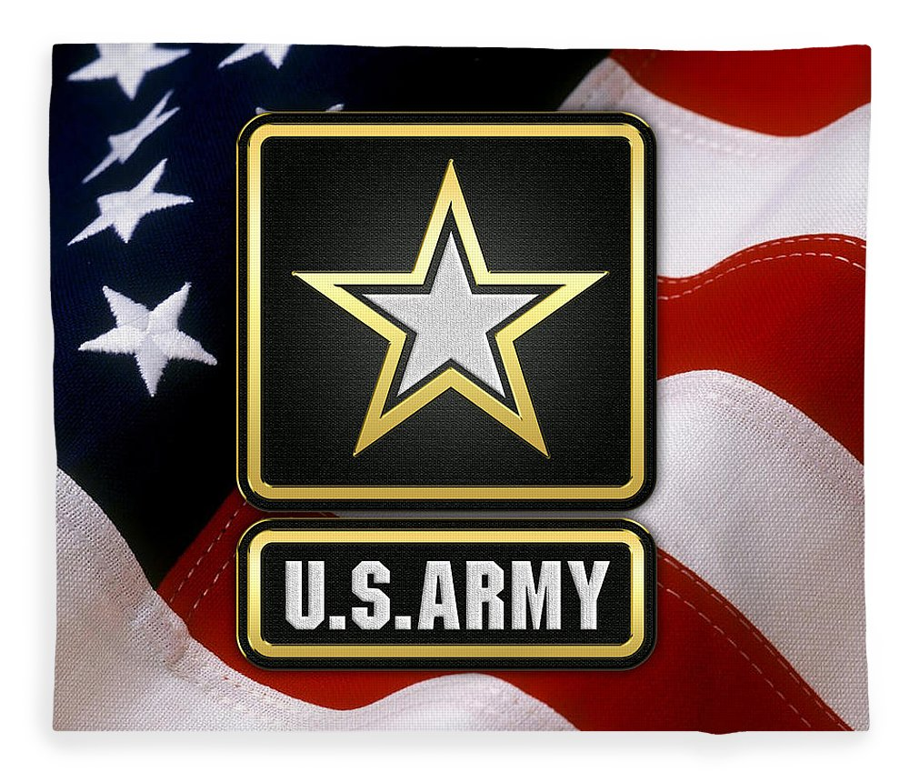 'military Insignia & Heraldry 3d' Collection By Serge Averbukh Fleece Blanket featuring the digital art U. S. Army Logo Over American Flag. by Serge Averbukh
