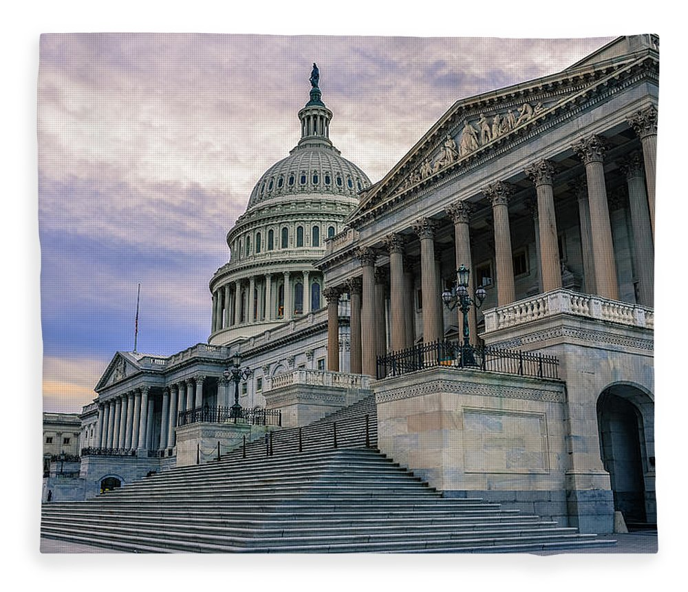 Tranquility Fleece Blanket featuring the photograph Us Capitol Building And Senate Chamber by Mbell