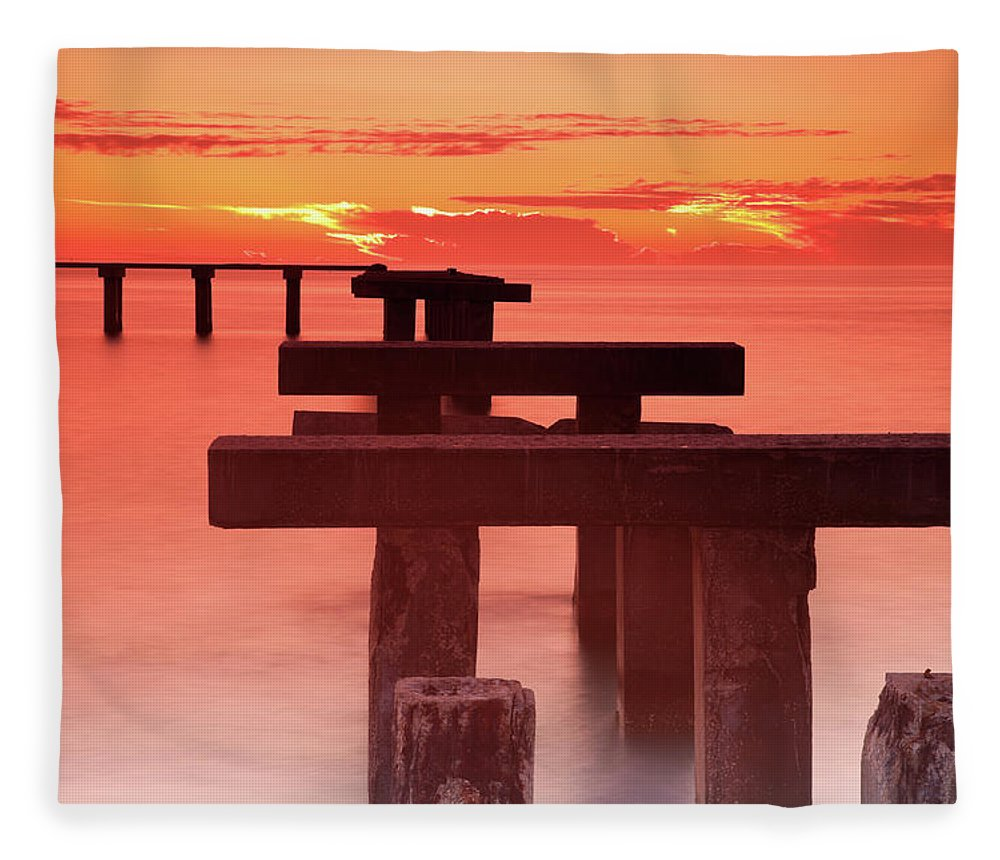 Tranquility Fleece Blanket featuring the photograph Usa, Florida, Boca Grande, Ruined Pier by Henryk Sadura