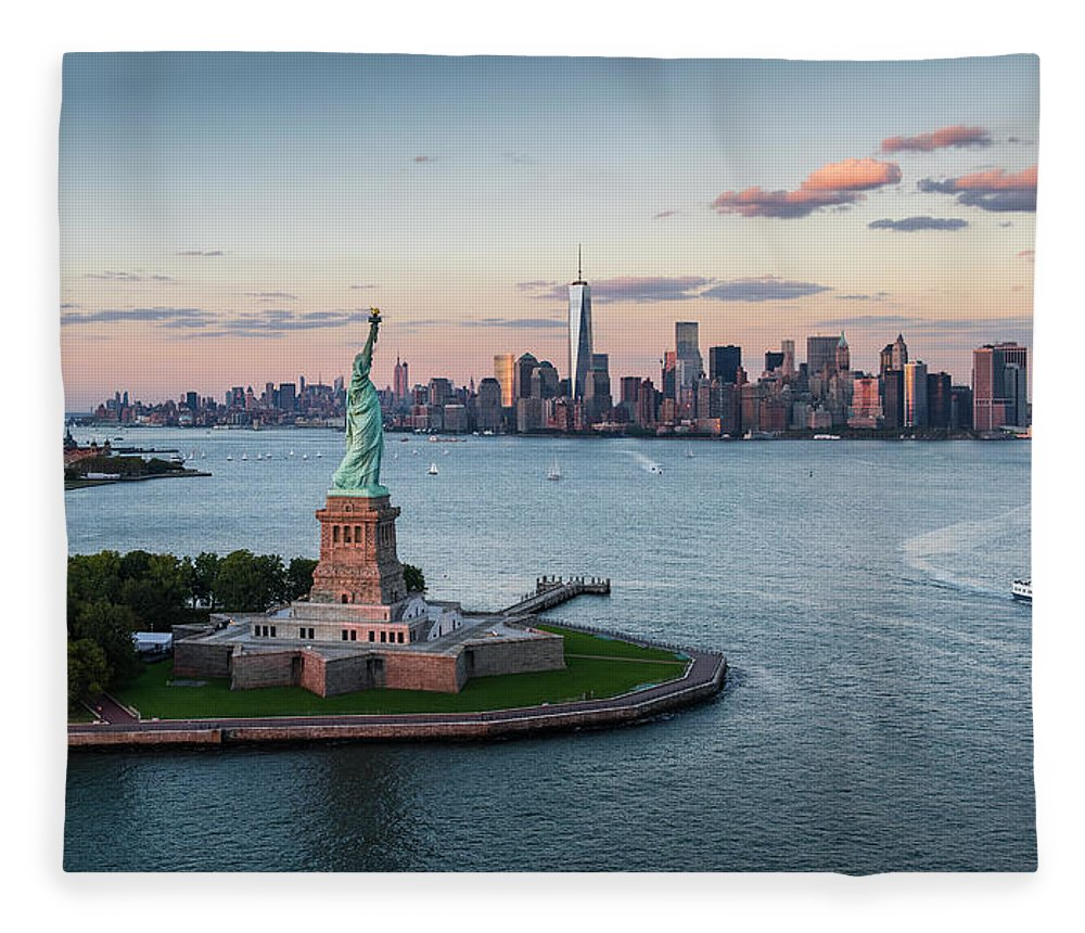 Tourboat Fleece Blanket featuring the photograph Usa, New York State, New York City by Tetra Images