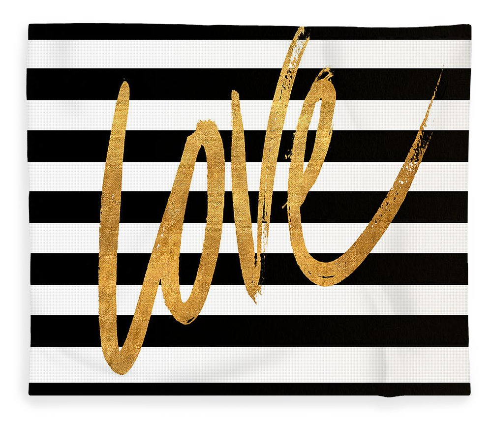 Valentines Fleece Blanket featuring the digital art Valentines Stripes Iv by South Social Graphics