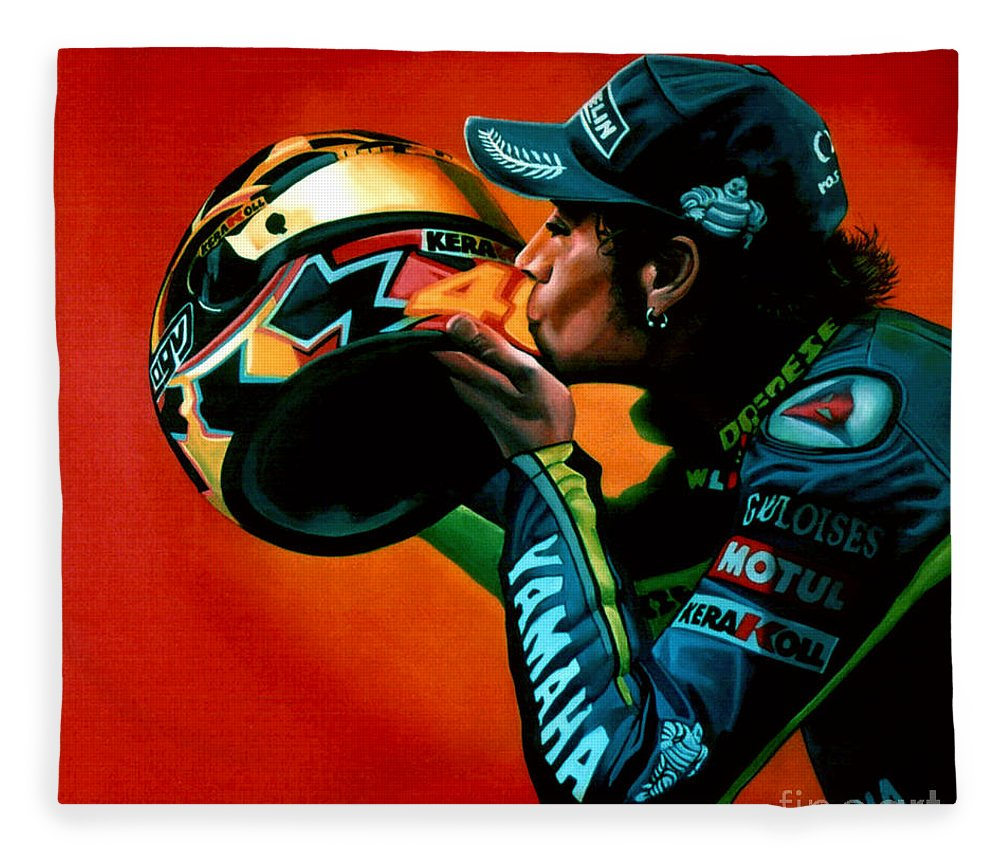 Valentino Rossi Fleece Blanket featuring the painting Valentino Rossi Portrait by Paul Meijering