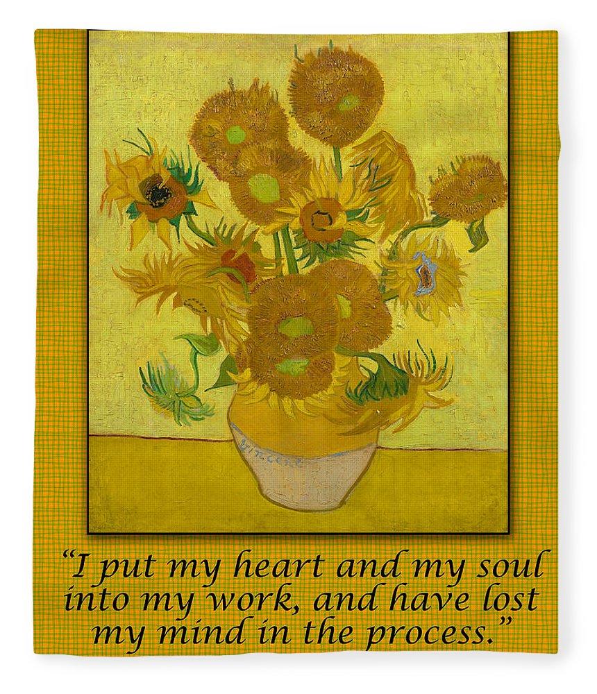 Van Gogh Motivational Quotes - Sunflowers II Fleece Blanket