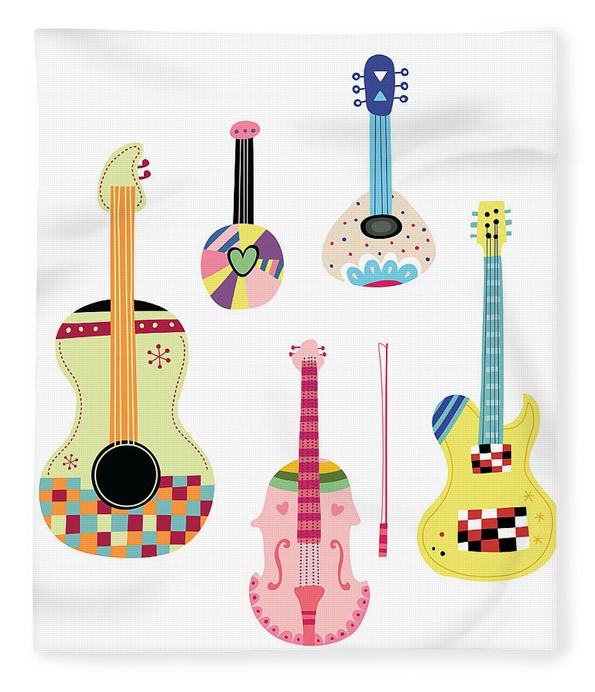 White Background Fleece Blanket featuring the digital art Various Kinds Of Stringed Instruments by Eastnine Inc.