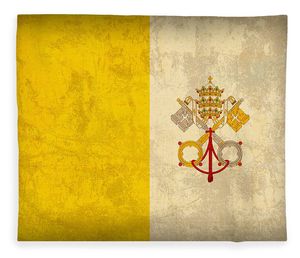 Vatican Fleece Blanket featuring the mixed media Vatican City Flag Vintage Distressed Finish by Design Turnpike