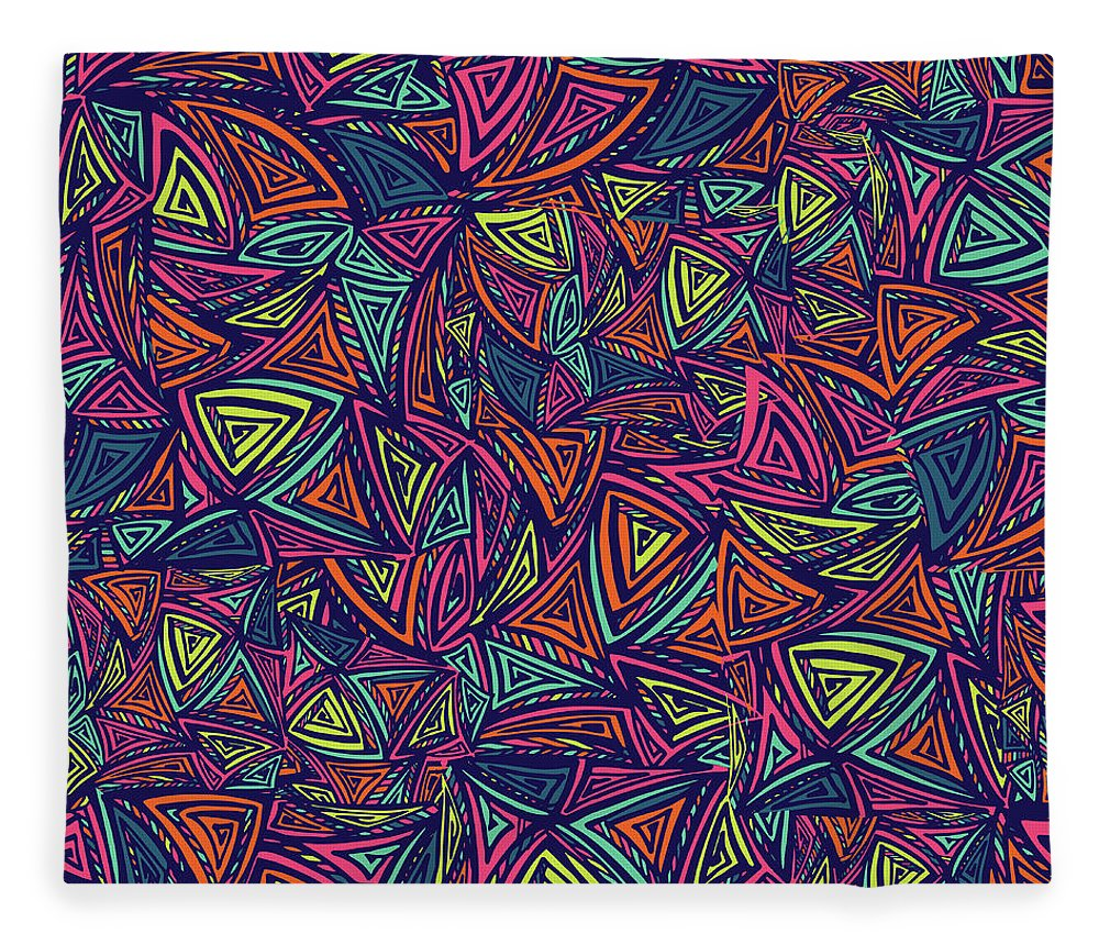 Cool Attitude Fleece Blanket featuring the digital art Vector Colorful Seamless Pattern With by Tatiana kost